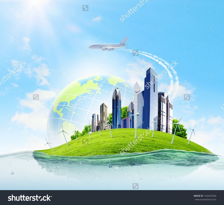 City On Island Floating In Water. Global Warming Stock Photo 163423550 : Shutterstock