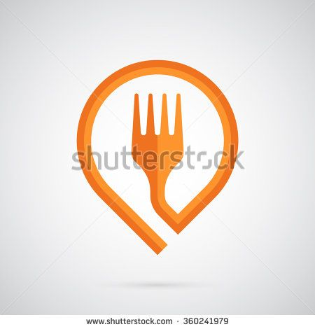 Fork logo template. Orange fork in the form of a marker. Creative and modern symbol for company identity, advertising, poster, leaflet, banner, web, flyer, shops, restaurants and cafes.