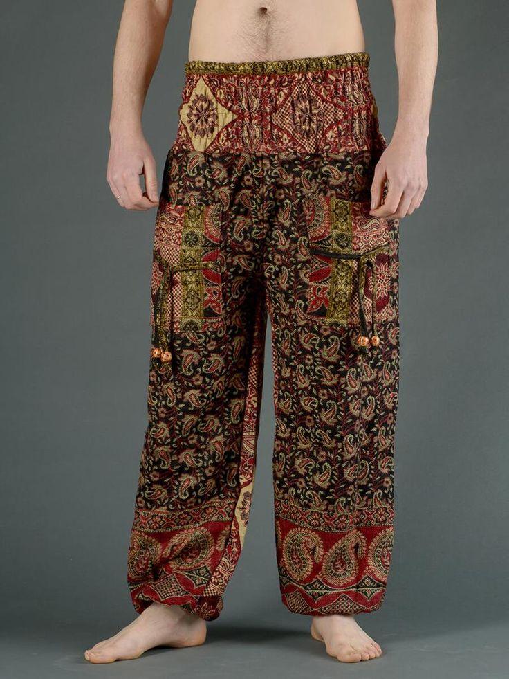 Pantalon bouffant laine imprimé petit cachemire à carreaux - noir (homme)