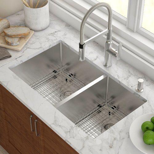 Kitchen Sink 33 L X 19 W Double Basin Undermount With Drain Assembly Sinks Kitchen Sink Design Farmhouse Sink Kitchen Best Kitchen Sinks Double sink for 30 inch cabinet