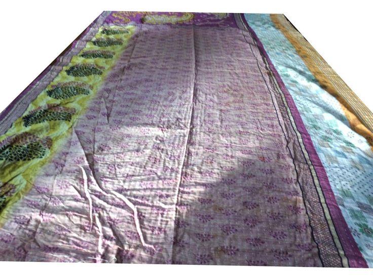 Reversible Kantha Quilt Vintage Bedspread Cotton Blanket Decorative Throw VIT172 #Handmade #Traditional