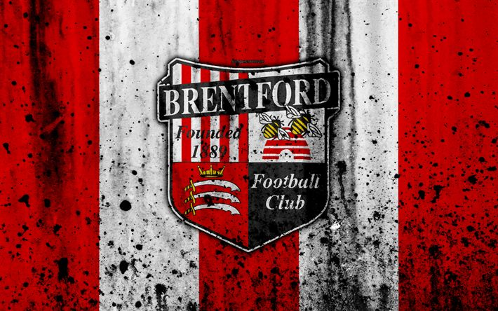 Download wallpapers 4k, FC Brentford, grunge, EFL Championship, art, soccer, football club, England, Brentford, logo, stone texture, Brentford FC