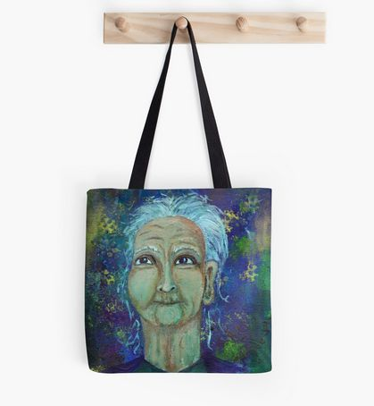 Auntie Ebb fashion tote bag ~ http://www.redbubble.com/people/elizafayle/works/13682796-auntie-ebb?p=tote-bag  #woman #old #elderly #wise #crone