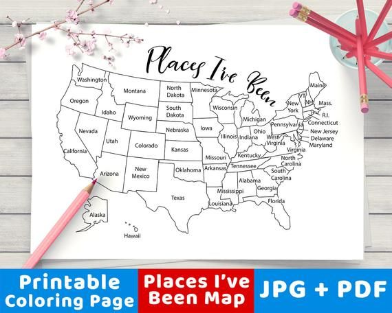 Where I Ve Been Us Map Places I've Been Map Coloring Page Printable USA Map | Etsy