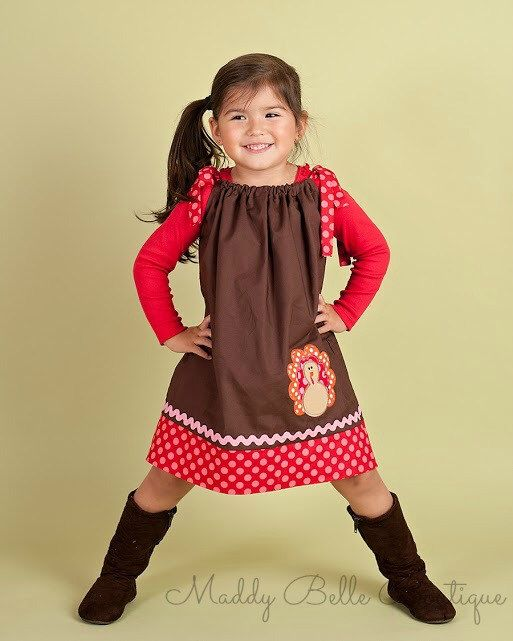 Cute Girls Thanksgiving Turkey Pillowcase Dress - Thanksgiving, Turkey, Pillowcase Dress, Romper ...