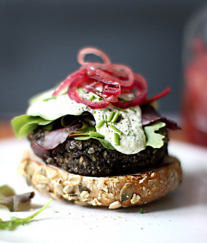 My New Roots: Wild Mushroom Lentil Burgers with Cashew Garlic Sauce at Whole Living