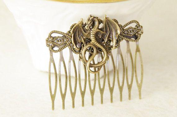Dragon Hair Clip / Khaleesi Hair Clip / Mother of Dragons Hair Comb / Fantasy Dragon Hair Accessories / Game of Thrones Stocking Stuffer