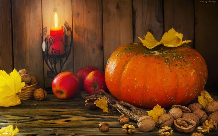 Jesień, Liście, Dynia, Świeczka, Jabłka, Orzechy