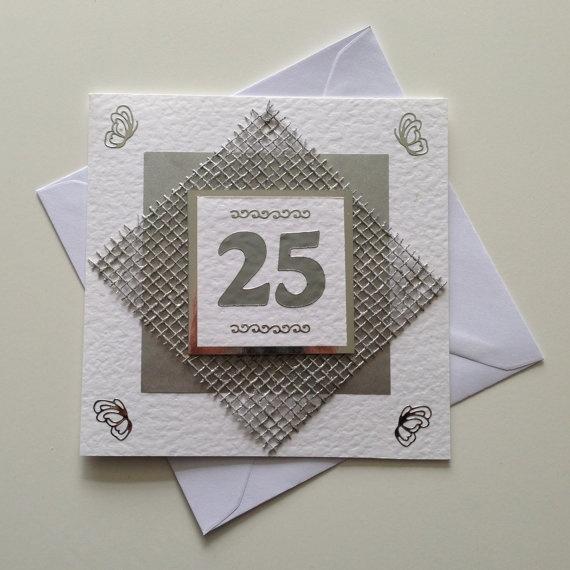 Handmade 25th Silver Wedding Anniversary Card By