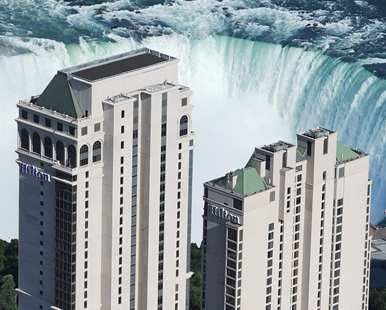 Hilton Hotel and Suites Niagara Falls/Fallsview, ON - Hotel Exterior and View of the Canadian Falls   Ontario L2G 3V9