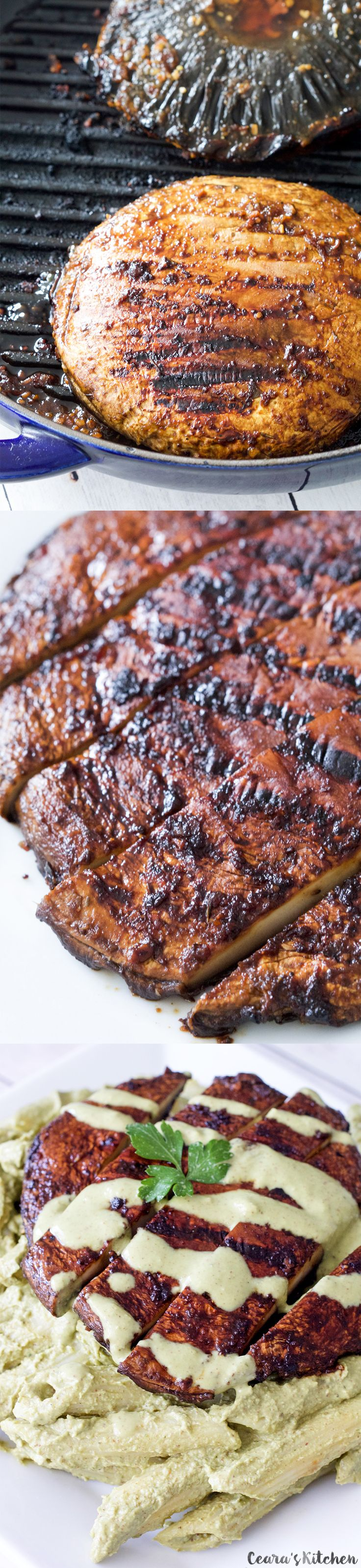 Thick, juicy and perfect #Vegan Steaks made with a garlic-soy marinade and a hint of maple syrup.