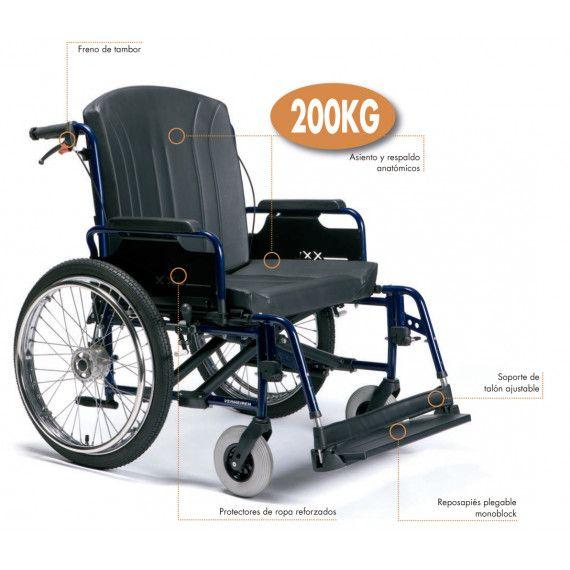 Silla de ruedas de aluminio plegable con doble cruceta.El modelo Eclips XXL proporciona un confort natural gracias a su asiento y respaldo anatómicos.