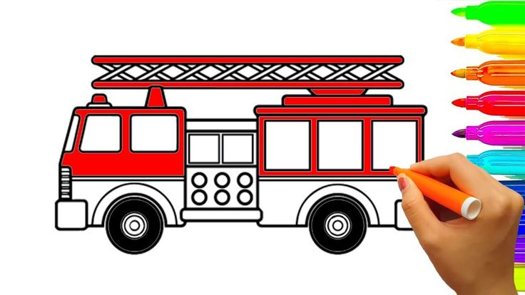 Learn colors with fire truck coloring pages, Car and vehicles coloring v...