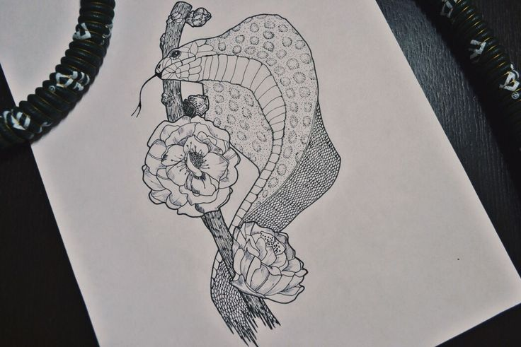 By Irina Vinogradova  Flower art drawing black sketch dotwork bw snake