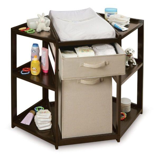 Espresso Diaper Corner Changing Table with Hamper Basket - Baby Center