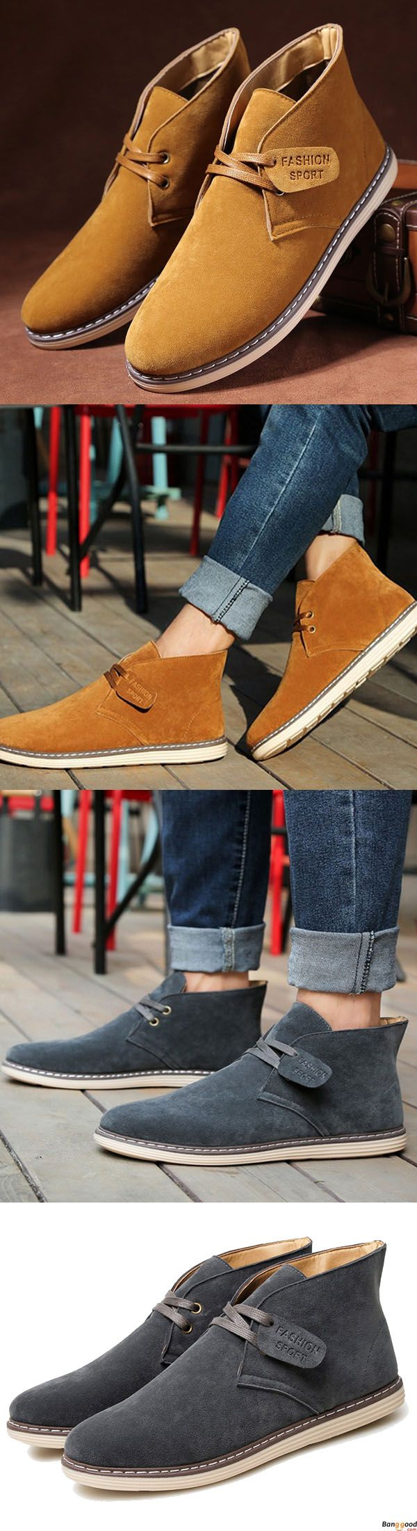 Men Soft Suede Leather High Top Flat Sneakers Boots. $49.99 + Free Shipping. Comfy and casual. Casual style for man. Shop at banggood now.