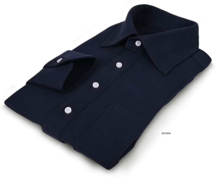 Luxire t-shirt constructed in Navy Pique: http://custom.luxire.com/products/tpr-pique-navy-knit-tpr_navy_pq_09 Consists of semi-spread collar with 3.25″ collar points and single button cuffs.