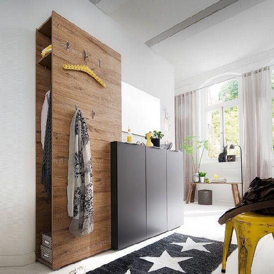 Genie Hallway Set 2 In Matt Anthracite And Natural Oak - Hallway Sets, White, Oak, Black, Furnitureinfashion UK
