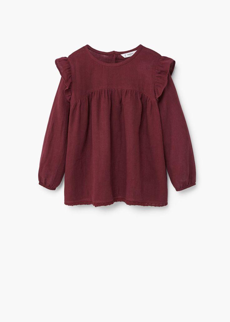 Ruffled cotton shirt | MANGO KIDS