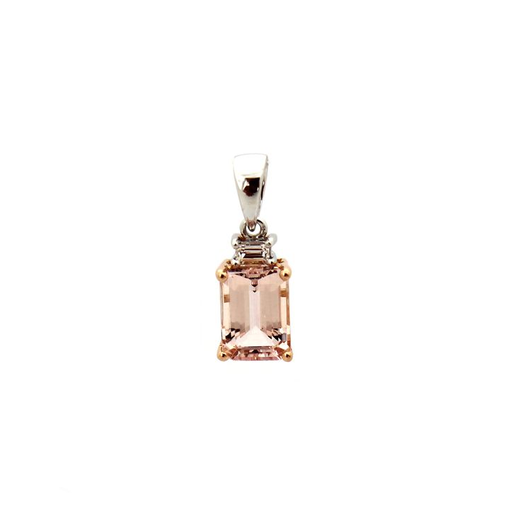 LA VIE EN ROSE PENDANT | This beautiful pendant is handmade from 18 karat white gold and rose gold. | Total carat weight of Morganite 1.05cts, Diamonds 0.04cts