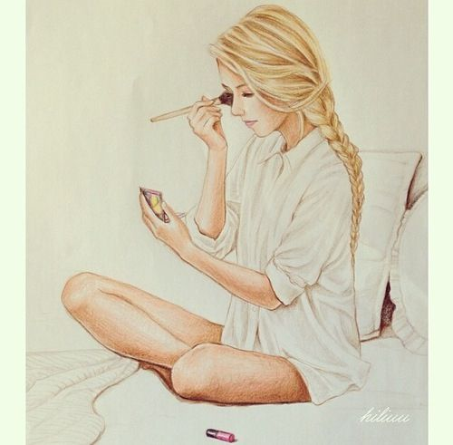 Amazing teenage girl drawing