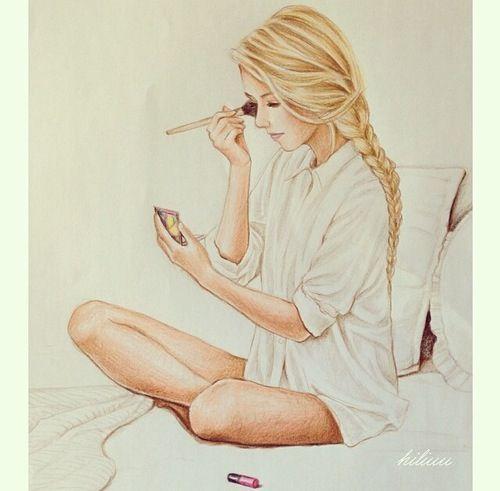 Amazing teenage girl drawing