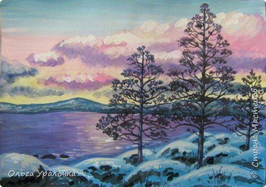 Картина панно рисунок Мастер-класс Рисование и живопись Зимние сумерки Гуашь фото 1