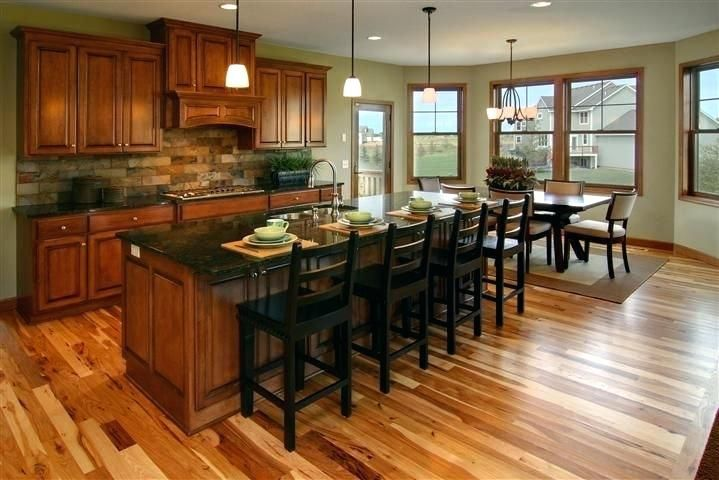 Hickory Cabinets With Dark Wood Floors Cherry Kitchen Cabinets With Gray Wall And Quartz Ideas Cherry C Cherry Cabinets Kitchen Kitchen Layout Hickory Flooring