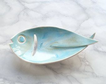 FISH ceramic soap dish with aqua glaze, drain hole…