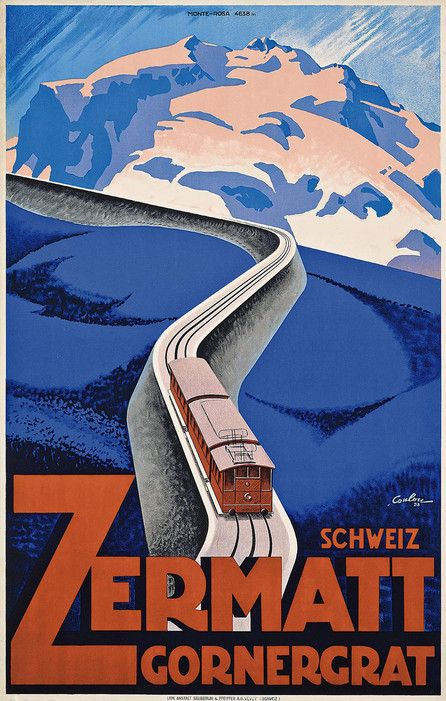 """Circa 1928, 40 x 25 inchesEstimate: $3,084 - $4,626Churcher notes this one as a personal favorite. """"The clean, simple lines, block colors, sense of perspective, and clever use of typography make this a poster that I would love to own,"""" she says. """"It also happens to advertise the beautiful Swiss resort of Zermatt, a personal favorite of mine where I regularly ski!"""""""