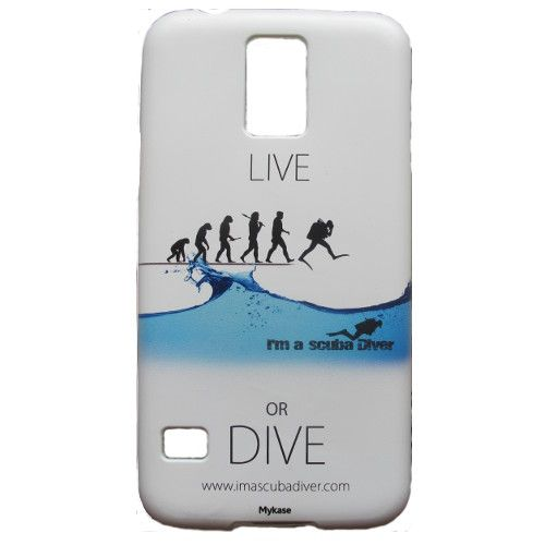"""Cover per telefono Samsung Galaxy S5. Per gli amanti della subacquea, Ditelo con la cover della linea """"Live or Dive"""" di I'm a scuba Diver.   http://www.imascubadiver.com/it/320-shop/5-Cover+Galaxy+S5.html"""