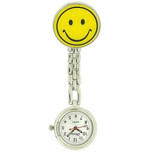 The Olivia Collection yellow Smiley Face Nurses Clip-On Fob Watch TOC56