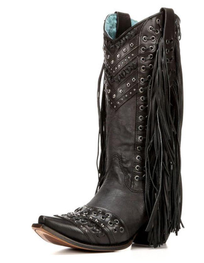 Corral black fringe cowboy boots