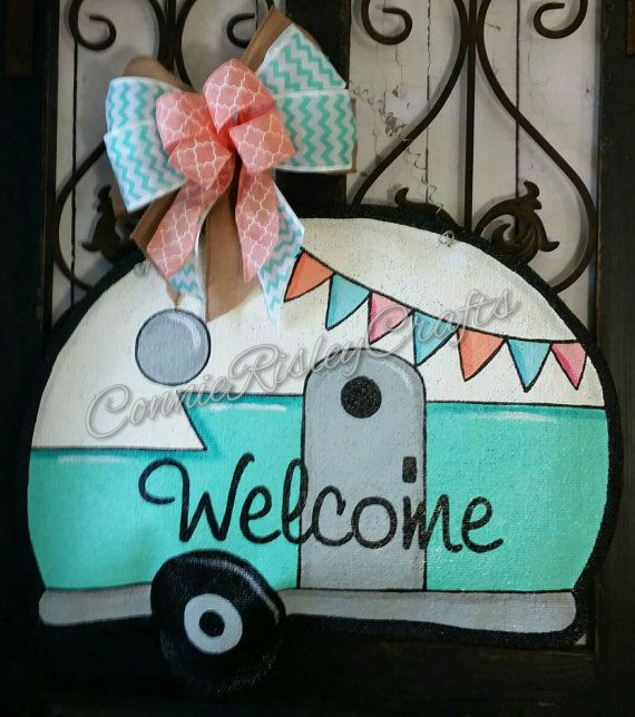 Vintage Camper Burlap Door Hanger Decoration by ConnieRisleyCrafts