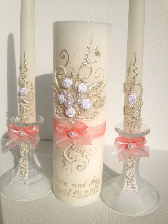 beautiful wedding unity candle set in white with blush pink bows perfect for your unity ceremony or as a bridal shower gift
