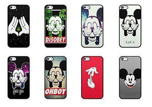 Coque iPhone 4 5 5S 5c 6 6 Disney Mickey Obey Swag Fuck Weed Love TPU Hard Case | eBay