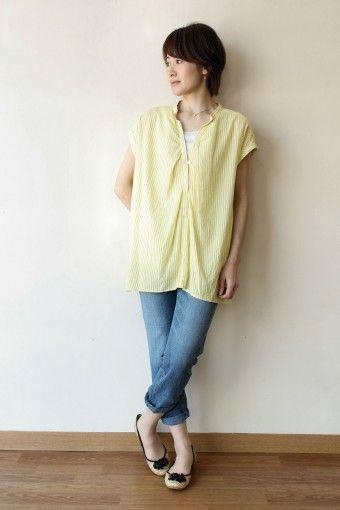 ゆるっと着れるスキッパーシャツがデニムと合わせるだけでも◎40代アラフォー女性のスキッパーシャツのコーデ♪