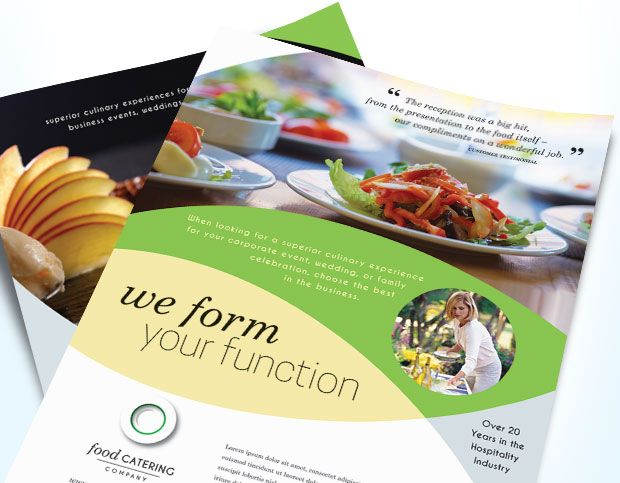 Food catering company flyer & brochure template design by ...