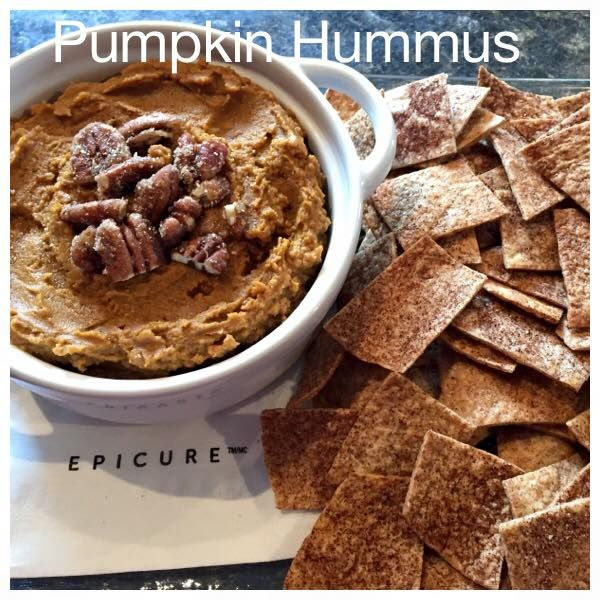 Pumpkin Hummus Recipe 3/4 cup pumpkin purée 1 cup chick peas rinsed & peeled ( can substitute for white kidney beans too)  2 tbsp melted Epicure Hot Buttered Rum 2 tsp Epicure's Pumpkin Pie Spice 2 tsp melted coconut oil Blend all ingredients in food processor until smooth. Pour into Epicure's mini baker and chill until ready to serve.   Thanks Jennifer Pasel Marej, Epicure Consultant for creating this!