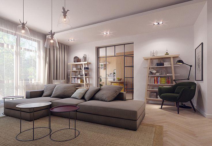 Charming living room, soft colors, symmetry  Arketipo BoConcept Jilde  Wooden bookshelf  salon decor sejour canape #SMIRNOVAINTERIORSPARIS