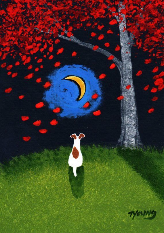 Smooth Fox Terrier Dog FALLING LEAVES limited by ToddYoungArt, $13.50