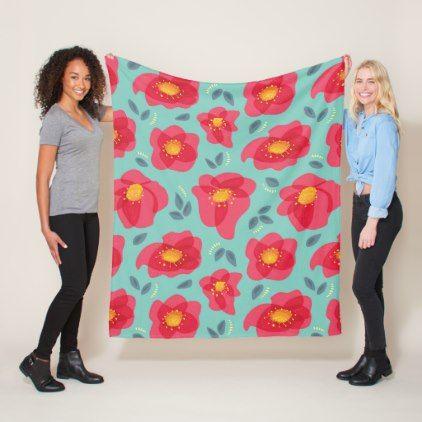 Spring Floral Pattern With Bright Pink Petals Fleece Blanket - flowers floral flower design unique style
