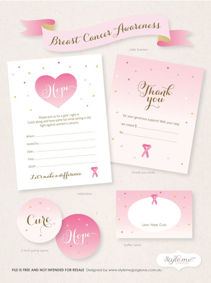 free breast cancer awareness invitation template thank you note card party spots tags and. Black Bedroom Furniture Sets. Home Design Ideas