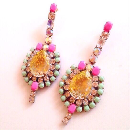 www.maddlola.etsy.com  Vintage Czech crystal earrings Hand painted & one of a kind