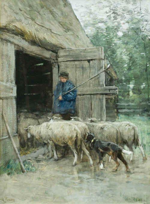 "Anthony (Anton) Mauve 1838 – 1888""Le retour der troupeau"" Sheep return to the shelter"