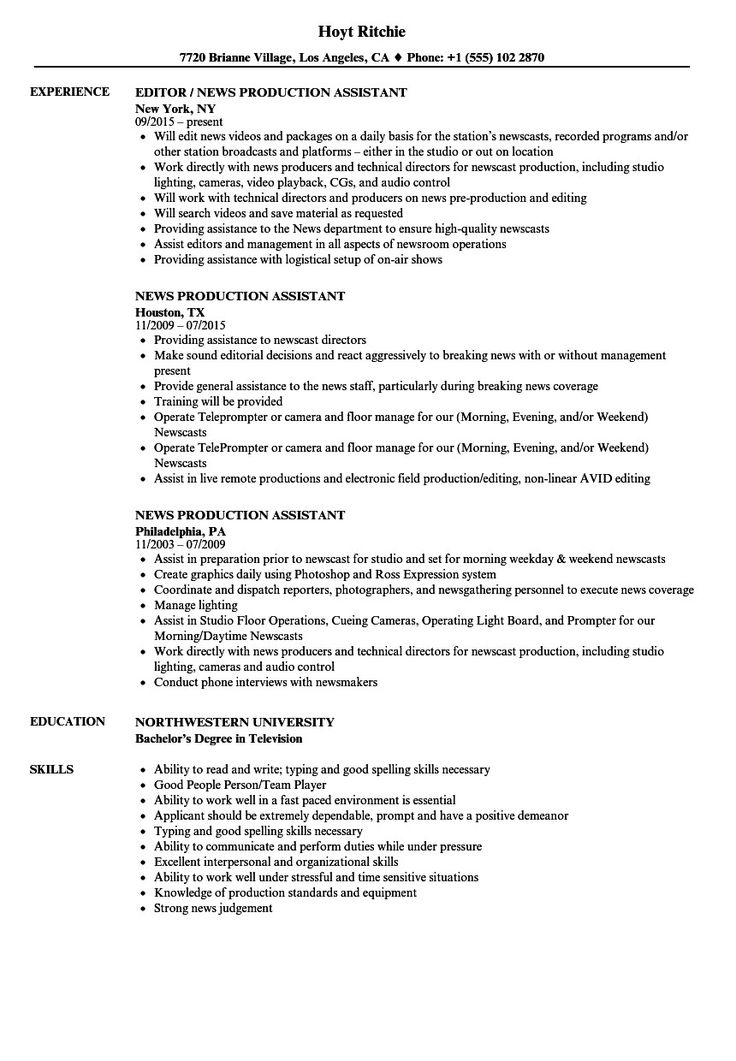 Top 20 Production assistant Resume Resume examples