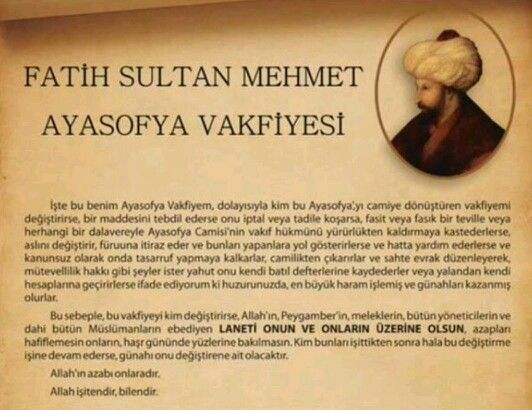 Fatih Sultan Mehmet Ayasofya Vakfiyesi