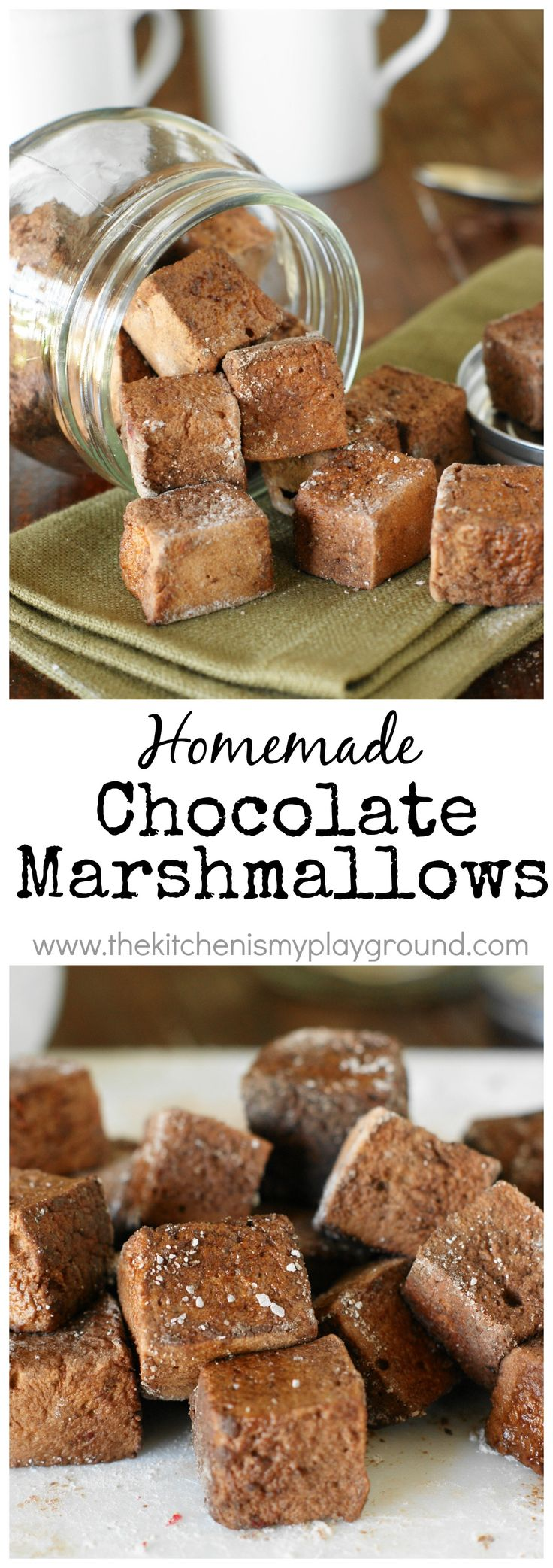 Homemade Chocolate Marshmallows ~ little pillows of chocolate marshmallow deliciousness. Enjoy in a mugful of hot chocolate, or just as they are for a sweet treat snack. #chocolate #marshmallows #homemademarshmallows www.thekitchenismyplayground.com