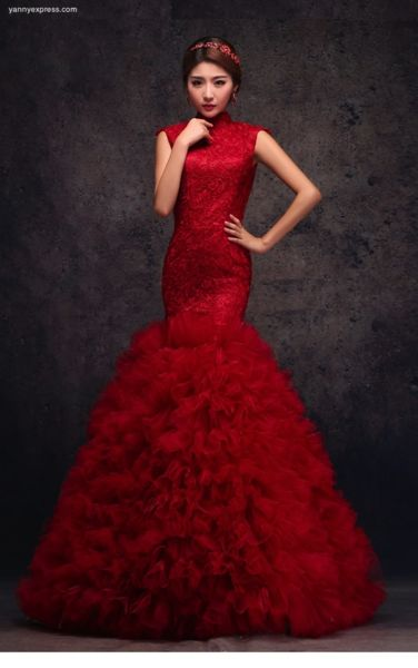 Chinese Red Organza Fit & Flare Wedding Qipao Gown