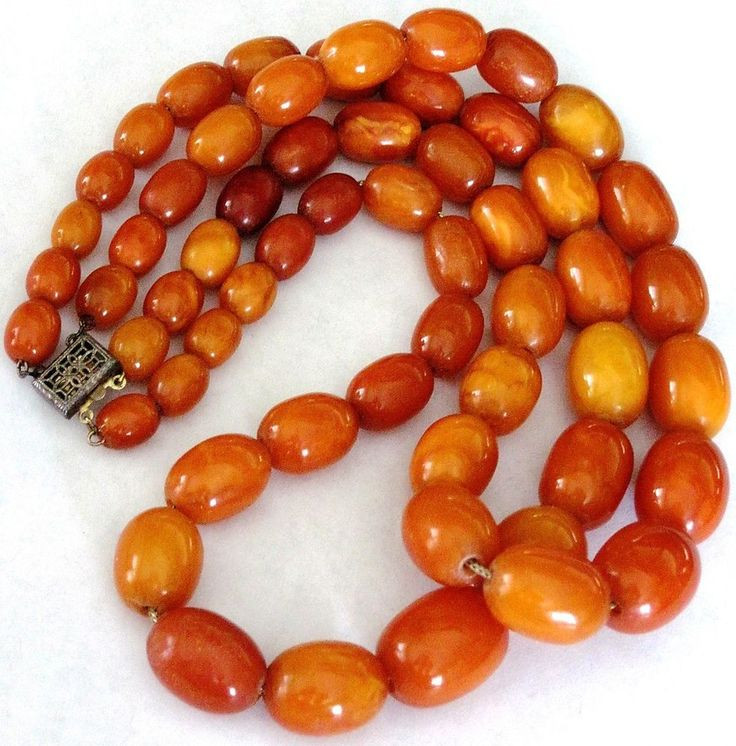 Antique Baltic Amber Butterscotch Egg Yolk Necklace W/ Sterling Clasp